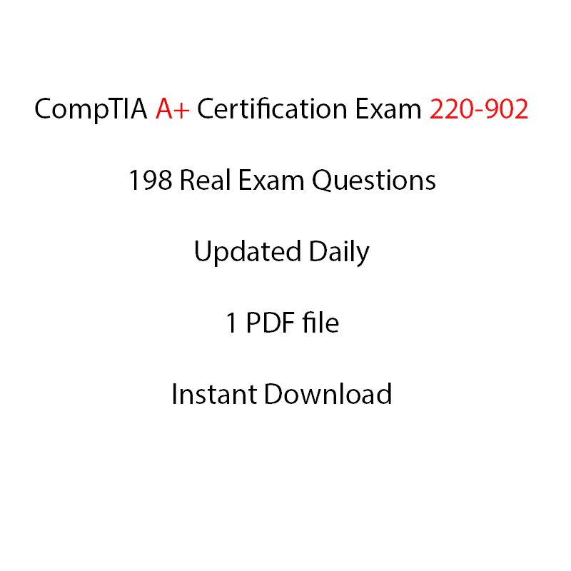 Comptia A Certification Exam 220 902 198 Questions Itil